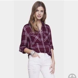 Oversized Windowpane Plaid Shirt - XS